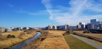 View of residences area in Japan observed form suburb. It`s a dry grass field in the front and a lot of building of residence and business in the background Royalty Free Stock Photos