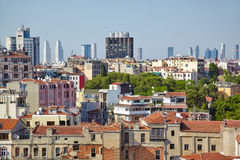 The view of residental  houses in Galata region of Istanbul. Stock Image