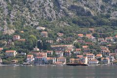 View of the residential area of Kotor from the opposite shore Stock Image