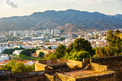 View of residential area of Malaga from height of Castillo de Gibralfaro. Costa del Sol, Andalusia, Spain stock photos
