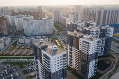 View of the residential area of St. Petersburg at sunrise, modern buildings, Parking, cars, new building.  royalty free stock images