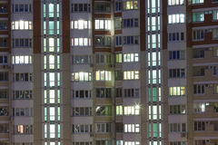 View of  residential building with bright windows Royalty Free Stock Image