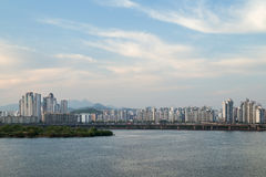 View of a residential district in Seoul. Residential district along the Han River viewed from the Mapo Bridge in Seoul, South Korea. Copy space Stock Photo