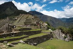 Machu Picchu Peru, residential section. View of the residential section of Machu Picchu Peru, ancient ruins area stock photo