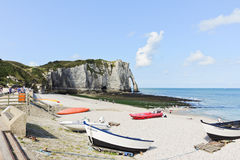 View of resort beach and cliff in Etretat town Stock Photo