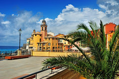 View on resort city Camogli with cloudly sky and palm Royalty Free Stock Photo