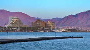 View on resort hotels in Eilat city, Israel Royalty Free Stock Images