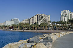 View on resort hotels in Eilat city, Israel Royalty Free Stock Photos