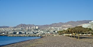 View on resort hotels in Eilat city, Israel Royalty Free Stock Photography