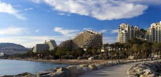 View on resort hotels of Eilat city, Israel Royalty Free Stock Photos