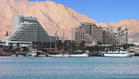 View on resort hotels in Eilat city, Israel Royalty Free Stock Image