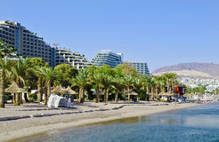 View on resort hotels and Eilat, Israel Stock Images