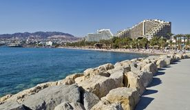View on resort hotels of Eilat, Israel Stock Images