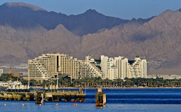 View on resort hotels of Eilat, Israel Stock Photos