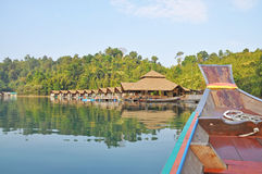 View of resort in Ratchaprapha Dam. Khao Sok National Park, Surat Thani Province, Thailand Royalty Free Stock Photography