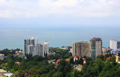 View of the resort of Sochi and the sea from a height Royalty Free Stock Photos