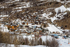 View of the resort Tignes les Brevieres. France Royalty Free Stock Photos