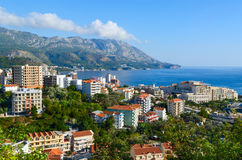 View of the resort town of Becici on the Adriatic coast, Montenegro Stock Photos