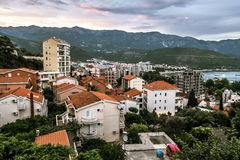 View of the resort town of Budva at sunset. Royalty Free Stock Image