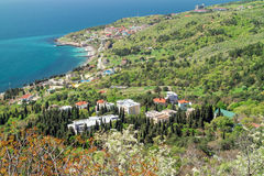 View of the resort village Katsively and the Black Sea from the mountain-cat. Yalta, Foros, Crimea. View of the resort village Katsively and the Black Sea from royalty free stock photography
