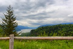 View of the Columbia River Gorge and Crown Point. The view from a rest area along the Historic Columbia River Highway of Columbia River Gorge with Vista house Stock Photography