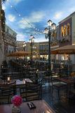 A view of a restaurant inside of the Venetian hotel in Las Vegas. Stock Photography
