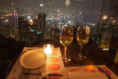 View from restaurant on The Peak. Hong Kong. Royalty Free Stock Images