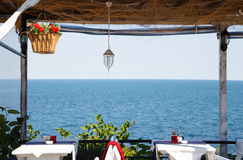 View from a restaurant on the sea cost Royalty Free Stock Images