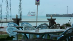 View from restaurant on ship and floating pier in stock video footage