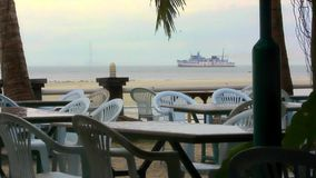 View from restaurant on ship and floating pier in stock video