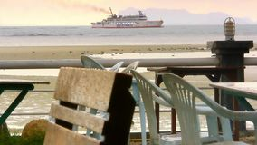 View from restaurant on ship and floating pier in stock footage