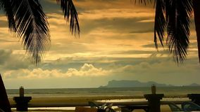 View from restaurant to the beach in sunset time. Koh Samui Thailand stock video