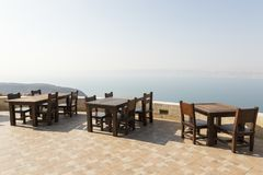 View from a resting place in Jordan to the dead sea. Direction Israel royalty free stock images