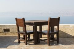 View from a resting place in Jordan to the dead sea. Israel in the background stock images