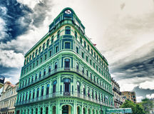 View of restored Saratoga Hotel, built in 1879 in Old Havana. Neighborhood across from the Capitolio stock photography