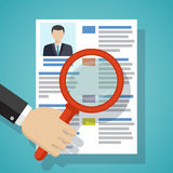 View Resume with magnifying glass. Royalty Free Stock Image