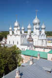 The view of The Resurrection of Christ Church and Assumption Cathedral in Rostov Kremlin Royalty Free Stock Photos