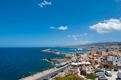 View of Rethymno city from Fortezza on Crete, Greece. Stock Image