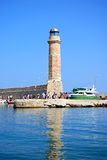 View of Rethymno lighthouse, Crete. Royalty Free Stock Photo
