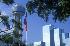 View of Reunion Tower and Hyatt Hotel in Dallas, TX through trees with state flag stock images