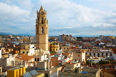 View on Reus. General view on city and cathedral in Reus in evening Stock Photos