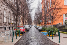 View of the Reviczky street in Budapest, Hungary. BUDAPEST, HUNGARY - FEBRUARY 21, 2016: View of the Reviczky street in the Budapest Royalty Free Stock Photo