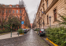 View of the Reviczky street in Budapest, Hungary. BUDAPEST, HUNGARY - FEBRUARY 21, 2016: View of the Reviczky street in the Budapest Stock Photos