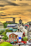 View of Reykjavik city centre in the evening Royalty Free Stock Photos