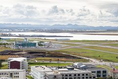 View of Reykjavik city neighborhood in september. REYKJAVIC, ICELAND - SEPTEMBER 5, 2017: above view of Reykjavik city neighborhood from Hallgrimskirkja church Royalty Free Stock Image