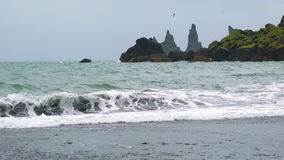 View of Reynisdrangar Rock Formations stock video