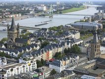 View of the Rhein and Cologne from the viewpoint of Cologne Cathedral Stock Images