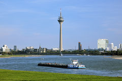 View of the Rheinturm TV tower in Dusseldorf, Germany Royalty Free Stock Images