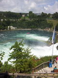 View of the Rhine Falls, Switzerland. Turbulent water around the Rhine Falls, Switzerland Royalty Free Stock Image