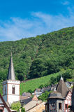 View from the Rhine River on the forest Niederwald, the aerial lift by Assmanshausen, the vineyards and the roofs of the town. Summer landscape: view from the Stock Photo